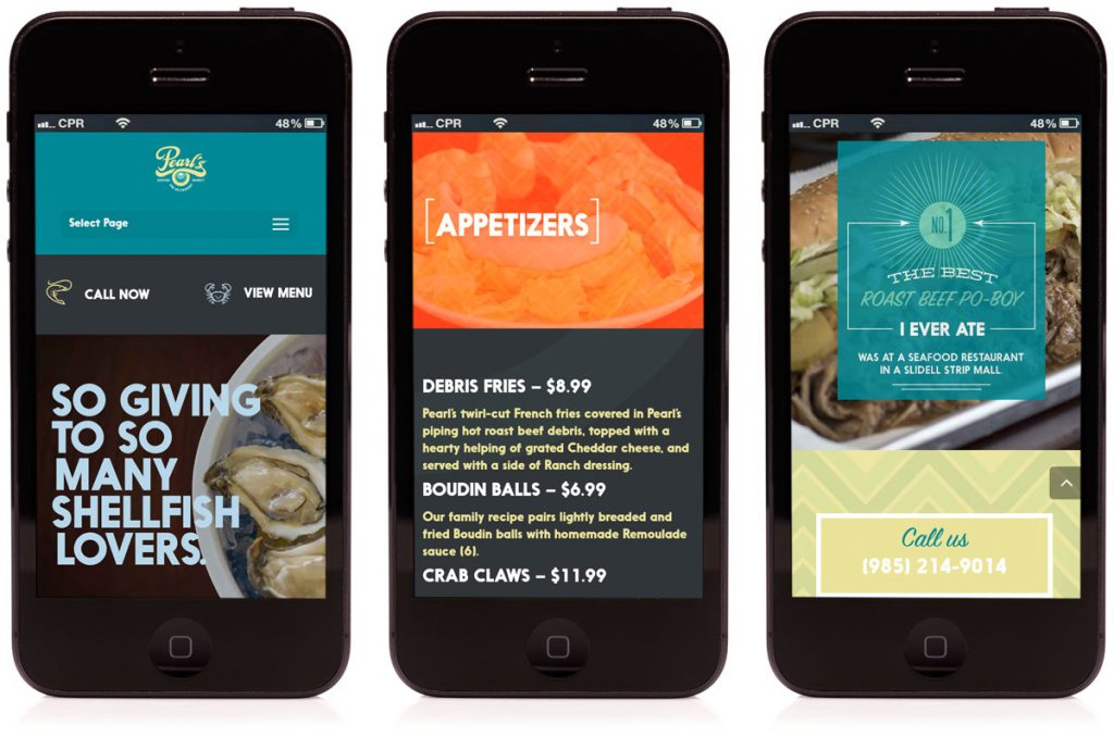 Mobile friendly website developed for Pearl's Seafood Market