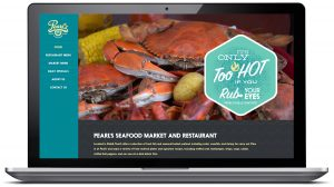 Homepage of newly launched website for Pearl's Seafood Market and Restaurant