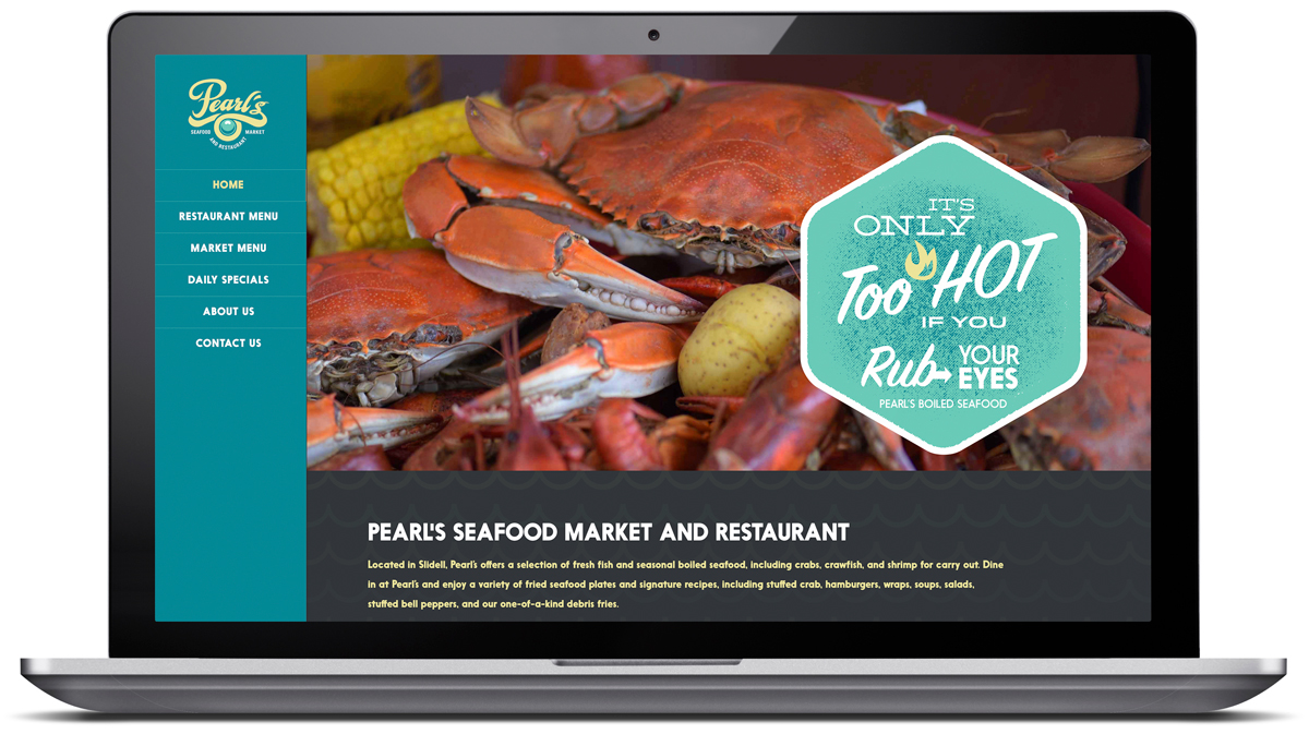 Pearls Seafood Market website developed by Cerberus in New Orleans
