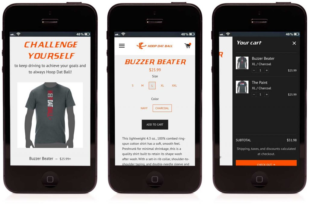 Cerberus developed a mobile friendly ecommerce website for Hoop Dat Ball