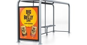 Big Fat Belly Good bus shelter poster design.