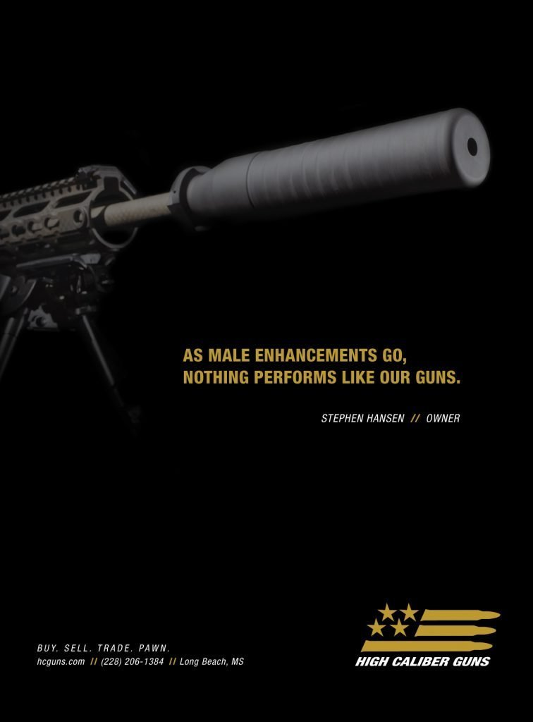 Print ad for High Caliber Guns in Mississippi.