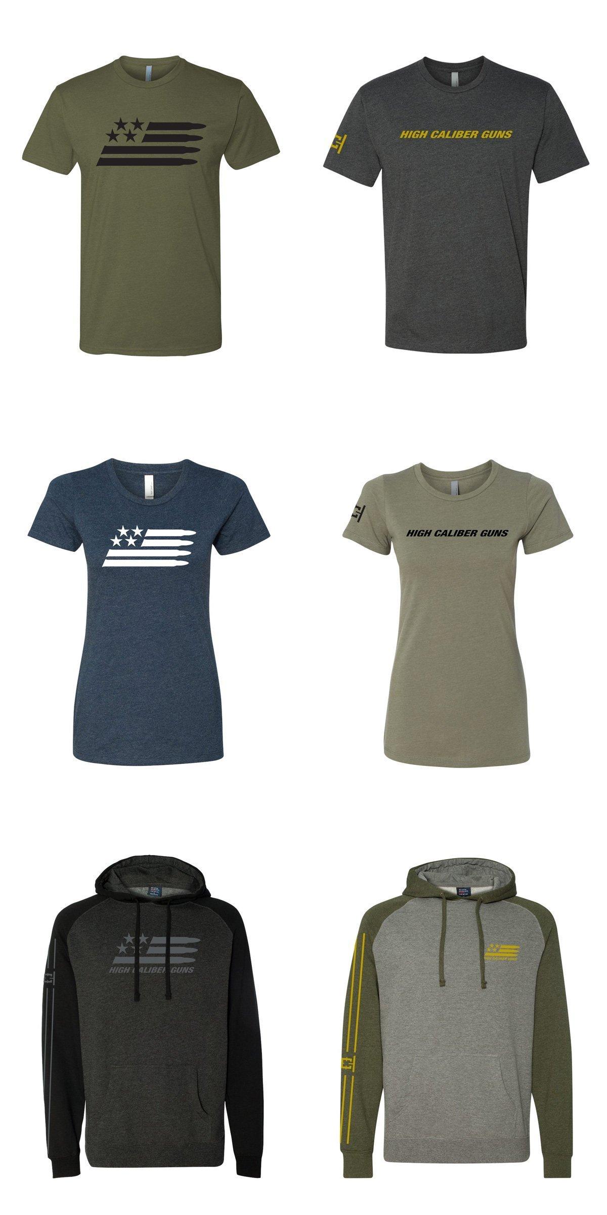 T-shirt designs for High Caliber Guns, from Cerberus.