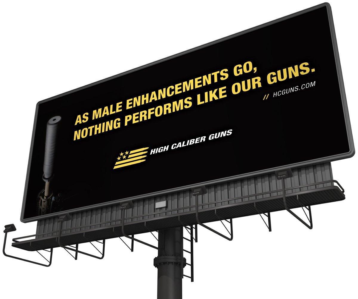 Cerberus' latest billboard design in the High Caliber outdoor campaign.
