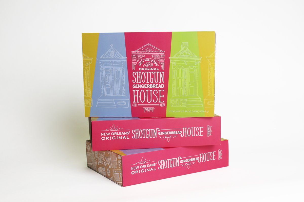 Packaging design for New Orleans Original Shotgun Gingerbead House produced by Cerberus Agency.