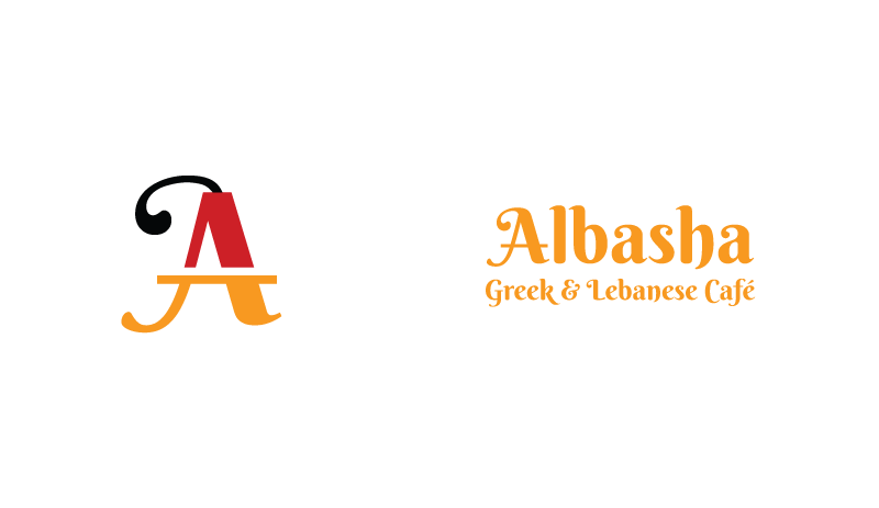 Logo design for Albasha Greek and Lebanese Cafe, designed by Cerberus Agency.