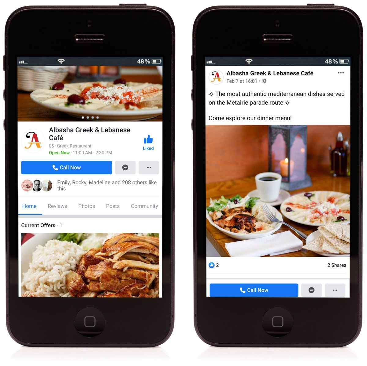 Social media management for Albasha Greek and Lebanese Cafe, maintained by Cerberus Agency in New Orleans, LA.