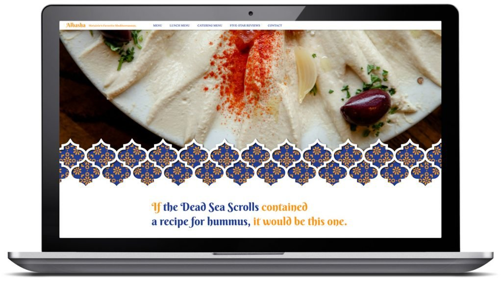 Responsive website design for Albasha Greek and Lebanese Cafe, designed and programmed by Cerberus Agency.