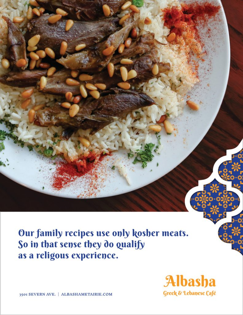 Full page print ad for Albasha Greek and Lebanese Cafe, designed by Cerberus Agency.
