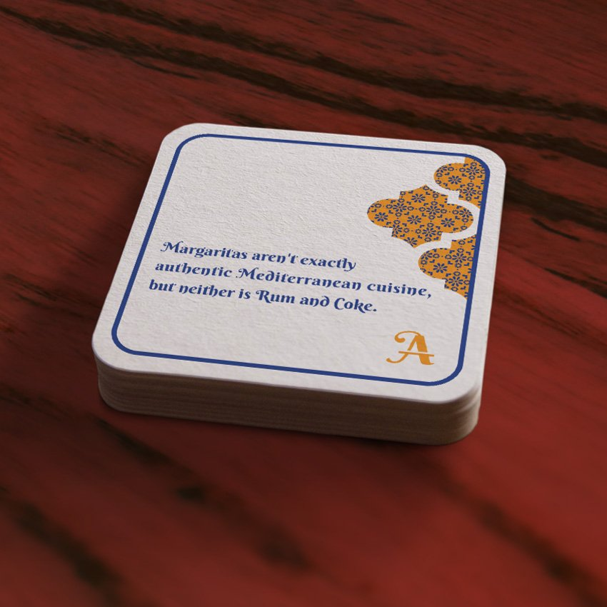 Printed drink coaster design by Cerberus Agency in New Orleans, LA.