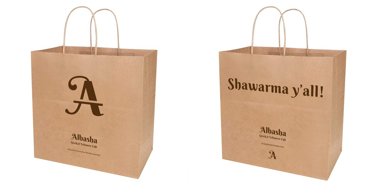 Branded takeout bag for Albasha Greek and Lebanese Cafe, designed by Cerberus Agency