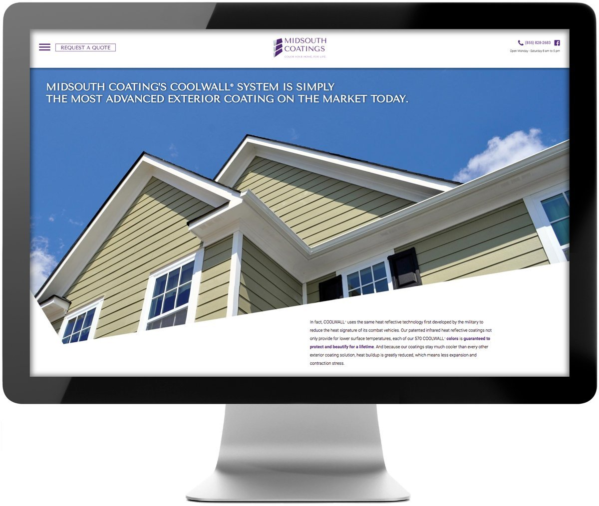 Website for MidSouth Coatings, designed and programmed by Cerberus Agency.