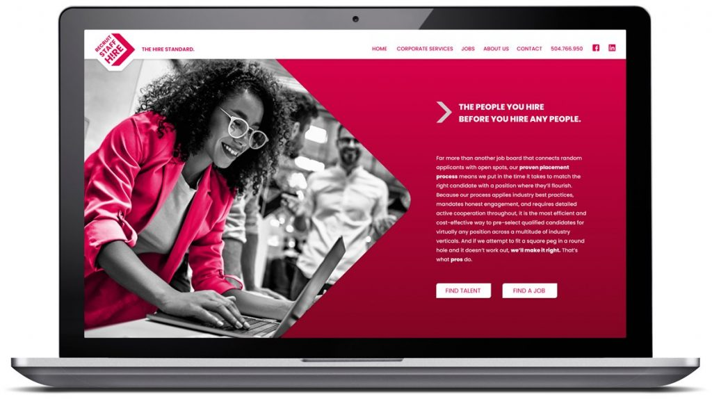 Responsive website for Recruit Staff Hire, designed and programmed by Cerberus Agency in New Orleans, LA.