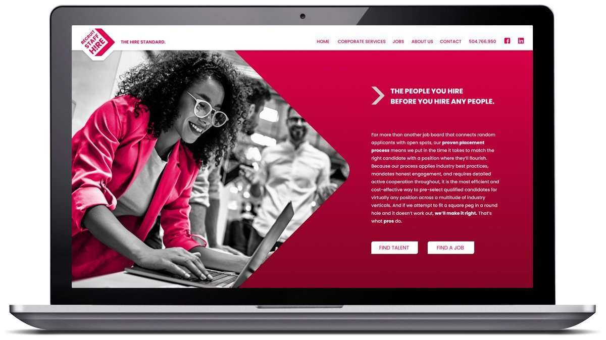 Responsive website for local staffing company in Metairie, LA, designed and programmed by Cerberus Agency.
