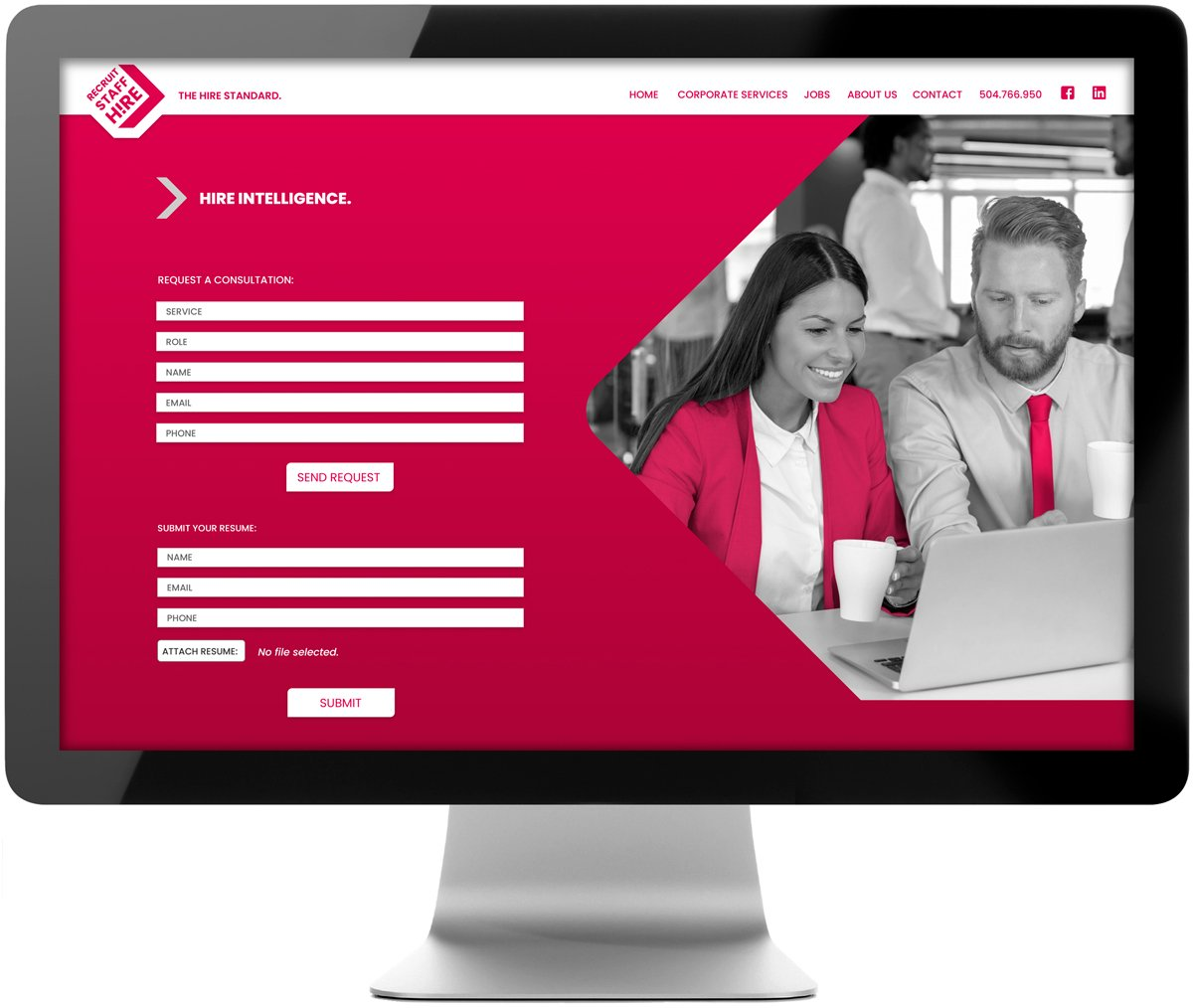 Responsive website for Recruit Staff Hire, designed and developed by Cerberus Agency.