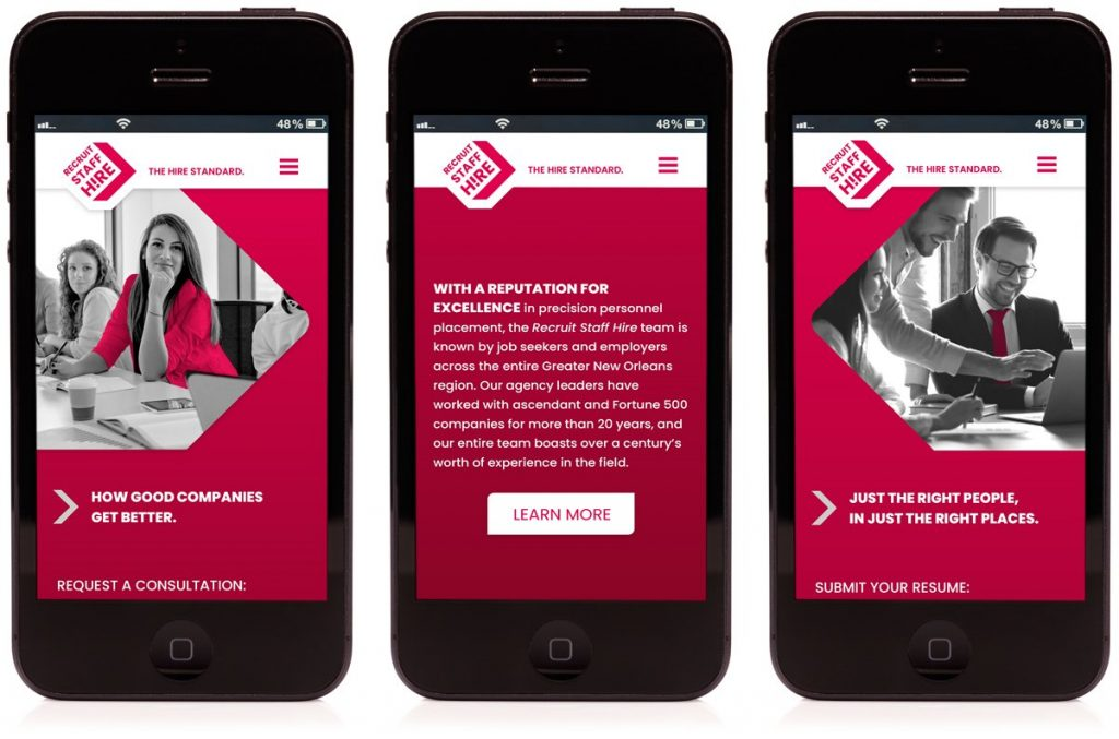 Mobile website design for Recruit Staff Hire, designed and programmed by Cerberus Agency.