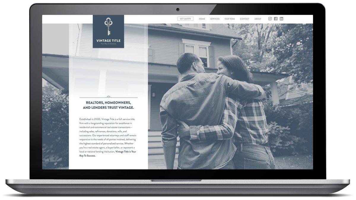 Website design for Vintage Title, designed and programmed by Cerberus Agency.