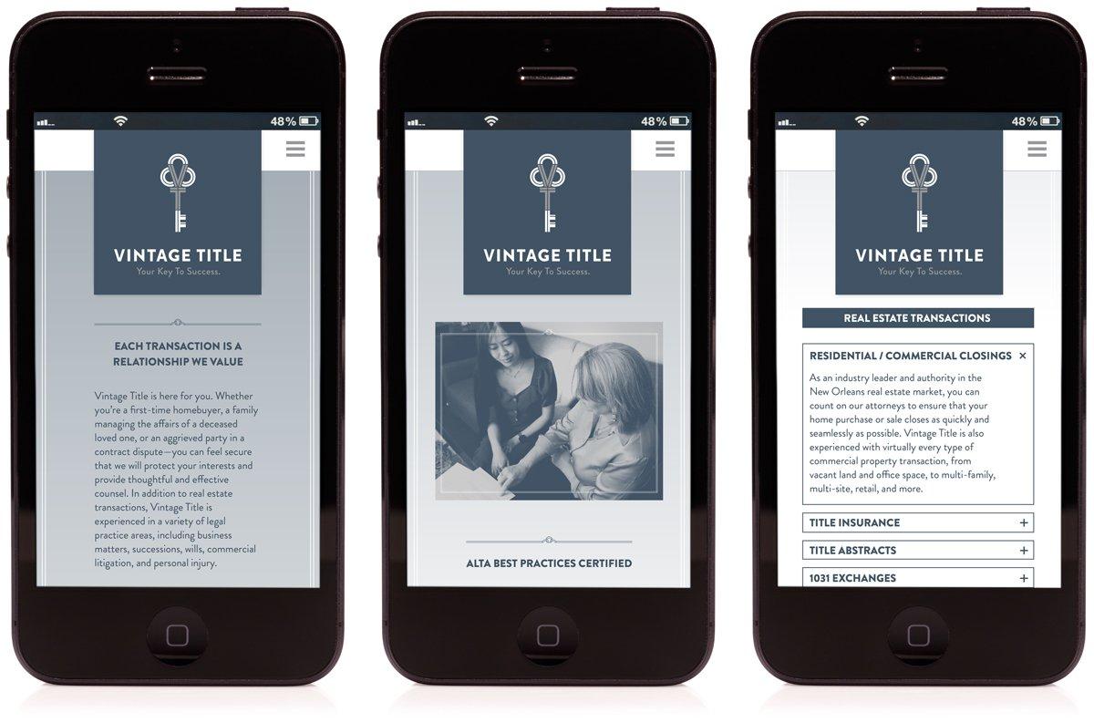 Responsive mobile website for Vintage Title, designed and programmed by Cerberus Agency.