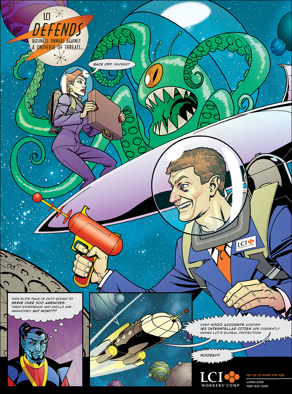 LCI Workers' Comp Agents Advertising Campaign 'Space Monster' Print Ad