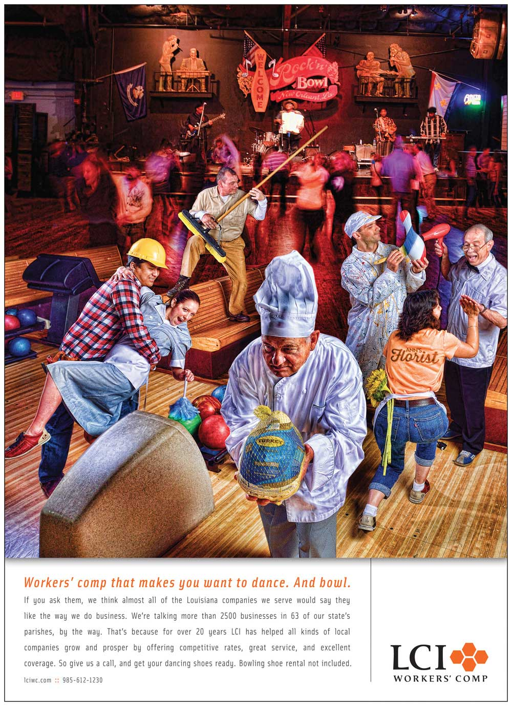LCI Workers' Comp advertising campaign shot in New Orleans at Rock 'n Bowl.