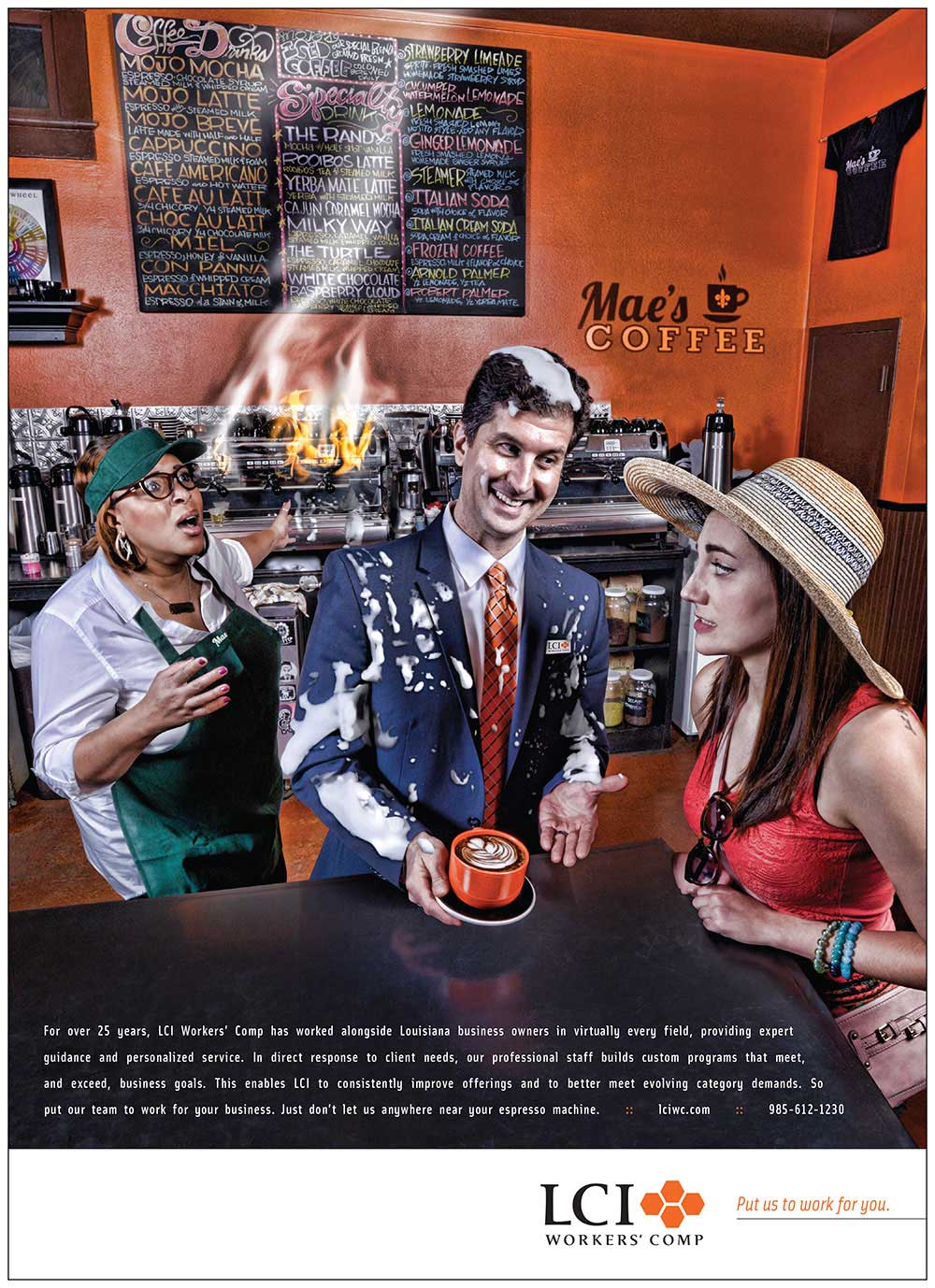 LCI Workers' Comp Print Advertising Design - Barista