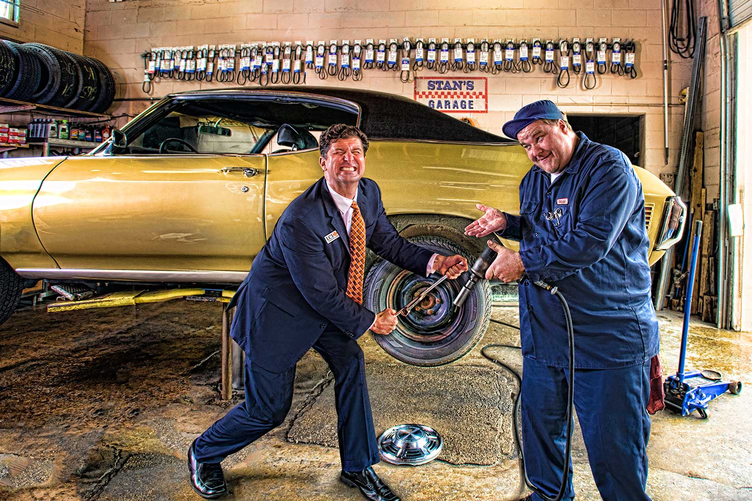 LCI Workers' Comp advertising campaign shot in a local New Orleans area garage.