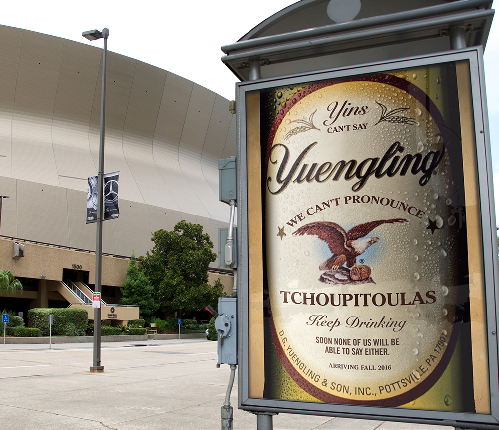 Yuengling Spec Bus Shelter Advertising Campaign Ad in New Orleans by Cerberus Agency in New Orleans.